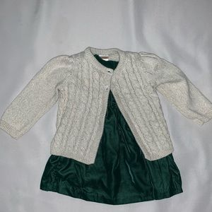 👶 GYMBOREE Green Velvet Dress with Gold Sweater